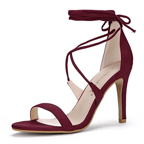 Allegra K Women's Lace-up Burgundy Sandals - 9 M US