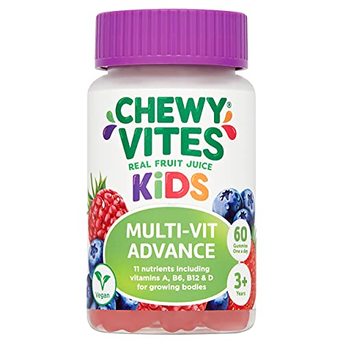 Chewy Vites Kids Multivitamin Advance 60 Gummy Vitamins | 11 Essential Nutrients | 1-a-Day | 2 Months Supply | Real Fruit Juice | Vegan | 3 Years+