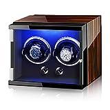 Adesign Binder de Montre Automatique avec Moteur Silencieux 5 Modes de Rotation, étui en Bois Verni de Cuisson de Piano de Luxe pour 2 Montres à Poignet (Color : Ebony Wood+Black, Size : 2-Slots)