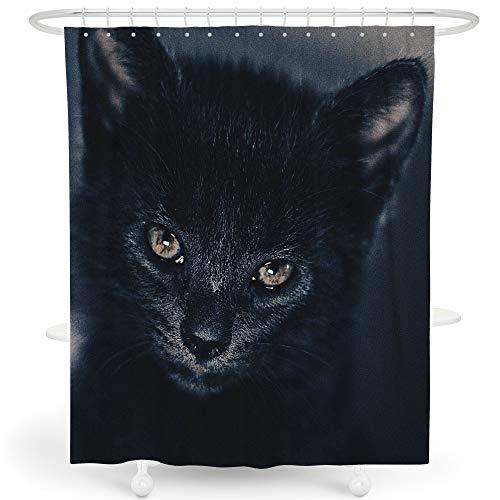 LIVETTY Duschvorhänge Hollywood Bad Dekor für Kinder Hexe Schwarze Katzen Horror Kitty Kinder Geschenk Polyester Wasserdicht 183 x 183 cm Haken enthalten