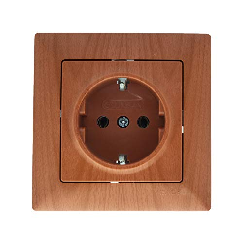 Gunsan Visage - Enchufe con protección de contacto, aspecto de madera de roble oscuro