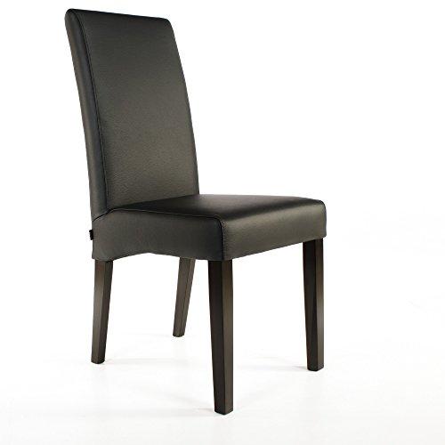 Lederstuhl Bambi Leder Schwarz Stuhlbeine Wenge Lederstühle Stühle Stuhl NEU