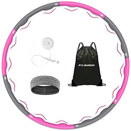 PYLAMISON Hula Hoop, aro con capucha para adultos y niños para perder peso y masaje, 6-8 segmentos, aro con capucha desmontable, adecuado para fitness, deporte, hogar, oficina