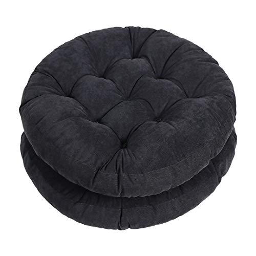 Tiita Outdoor Round Seat Cushions Patio Floor Pillow Pad Meditation Cushion for Yoga Living Room Sofa Balcony Set of 2, 22x22 Inch, Black