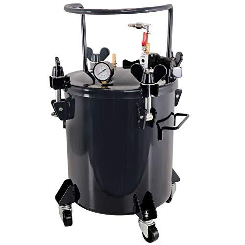TCP Global 5 Gallon (20 Liters) Pressure Pot Tank for Resin Casting - Heavy Duty Powder Coated Pot with Air Tight Clamp On Lid, Caster Wheels, Regulator, Gauge - Use for Curing Resin in Casting Molds