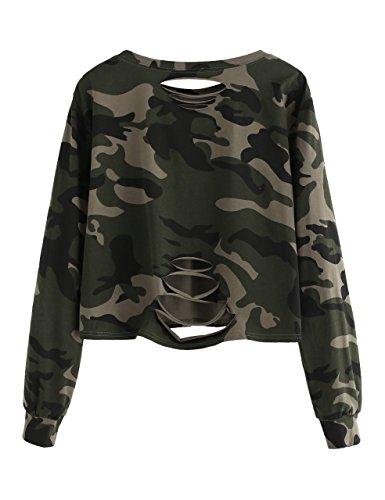 SweatyRocks Women's Tshirt Camo Print Distressed Crop T-Shirt Long Sleeve Tops Camo #1 M