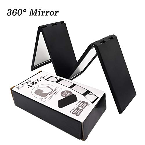 IMMETEE Hair fibers 360 Degree Folded Mirror For Hair Building Fibers Powder With Box (BLACK)