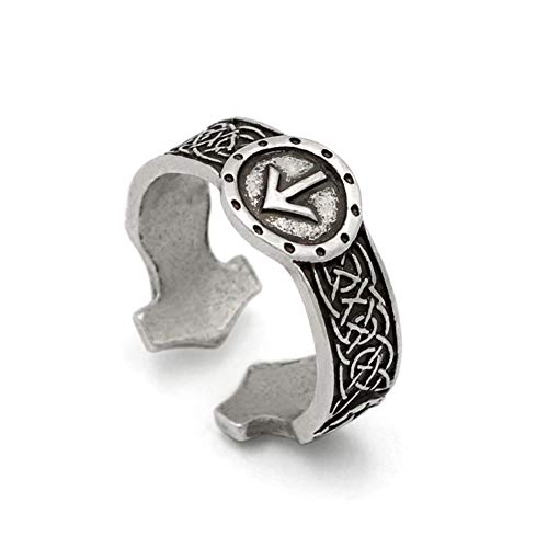 NICEWL Viking Rune Rings-Norse Anillos Ajustables para Hombre Ruleta De Amuleto, Estilo Nórdico, Estilo Nórdico, Estilo Punk, Joyería Pagana, Acero Inoxidable Talismán