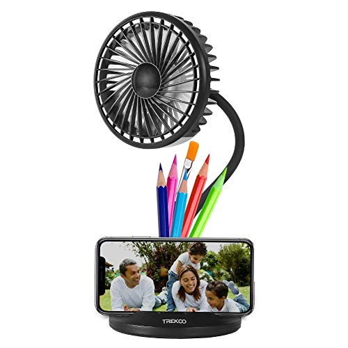 TREKOO - Ventilador de Escritorio (2600 mAh, Recargable, USB, Recargable)