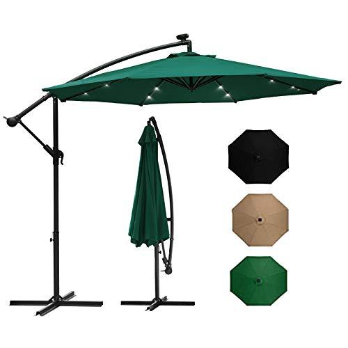 Kaigelu888 300cm sonnenschirme Sonnenschirm with 24 Solar-LED-Lichtern Kippen und Kurbeln Strand Sonnenschirm Sonnenschirm Garten für Garten, Deck, Garten, Strand und Pool(Grün)