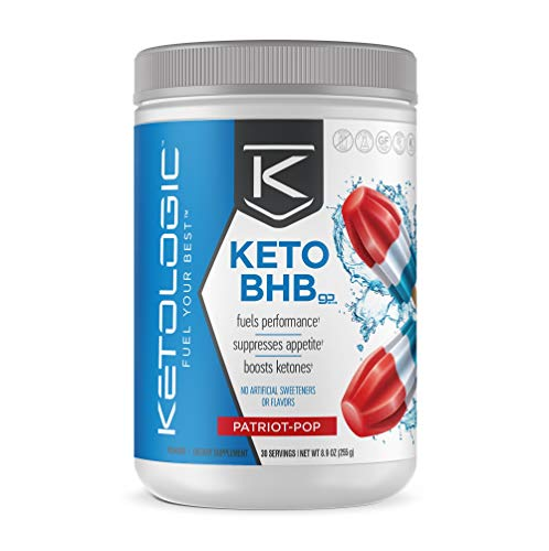 KetoLogic BHB Exogenous Ketones Powder Supplement: Patriot Pop (30 Servings) - Boosts Ketosis, Increases Energy & Focus, Suppresses Appetite  Supports Keto Diet & Weight Management