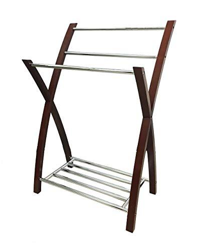 Aspekt freistehender Handtuchhalter mit unterer Ablage, Holz, Chrom/Mahagoni, 54 x 41 x 80 cm