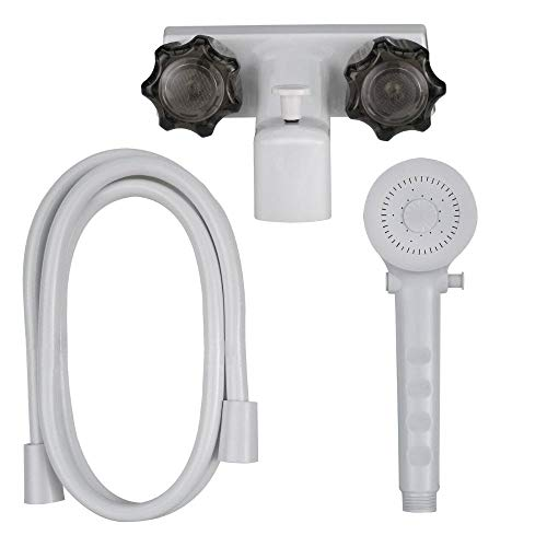 Fantastic Prices! 4 Tub and Shower Diverter Faucet White/Smoke with Shower Head & Hose for RVs