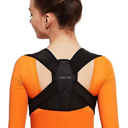 """Posture Corrector for Women and Men, Caretras Adjustable Upper Back Brace for Clavicle Support and Providing Pain Relief from Neck, Shoulder, and Upright Back L(31""""-37""""inch)"""