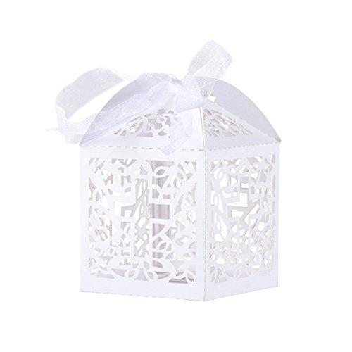 Tinksky Caja Caramelos Boda delicado caramelo cajas regalo cajas con cintas Caja de caramelo - 50 piezas