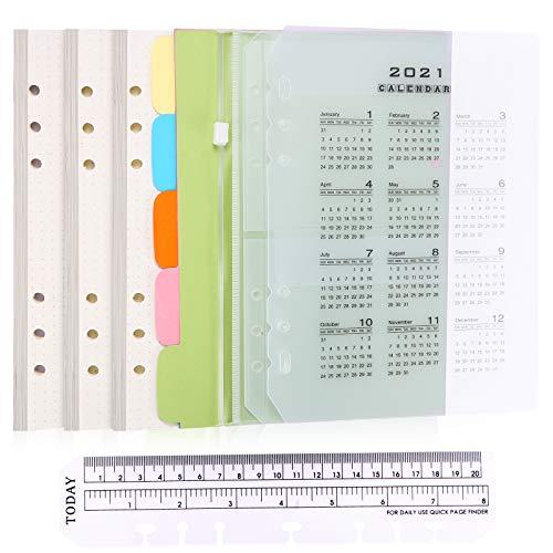 juehu A5 Paper Refill Paper Set Notizbuch a5 nachfüllbar Gepunktete Nachfüllpapier Set 6 Holes A5 Refillable Note Paper 135 Sheets+A5 Index+2 Binder Envelopes+20 cm Ruler+A5 Kalender 2021 Trennblatt