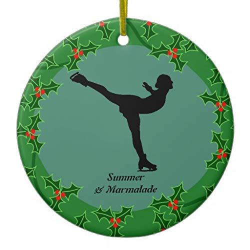 Cukudy Gepersonaliseerde figuur Skater dansen op ijs keramische kerst ornamenten nieuwigheid voor 2018 kerstboom decoratie idee