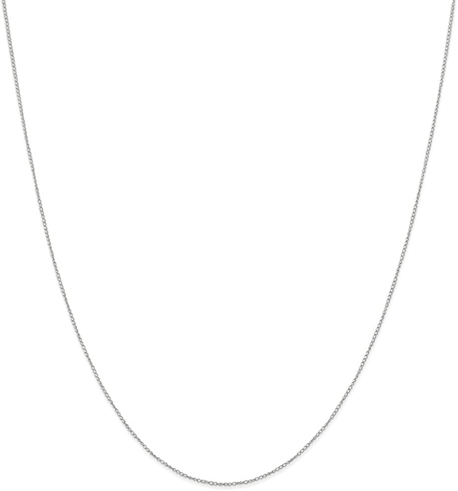 10k White Gold .42mm Link Curb Chain Necklace 24 Inch Pendant Charm Carded Fine Jewelry For Women Gifts For Her