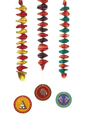 Set 3 Decoration spirals Indians double sided ass. (60 cm)