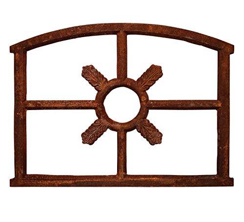 aubaho Fenêtre ornementale Style fenêtre de Grange - Style Antique - Fonte/Rouille - 52 x 70 cm