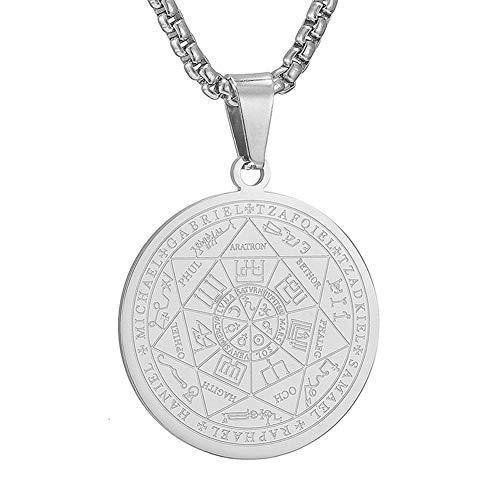 Talismán personalizado de 7 Arcángeles Medalla Sigil Colgante Collar oculto Tetragrammaton Medalla Protección contra el mal Constantine Coin Saint Michael Joyas para policías Amuleto de protección