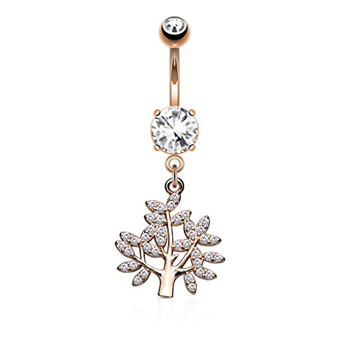 PiercedOff 316L Surgical Steel Belly Bar with Micro CZ Paved Life Tree...
