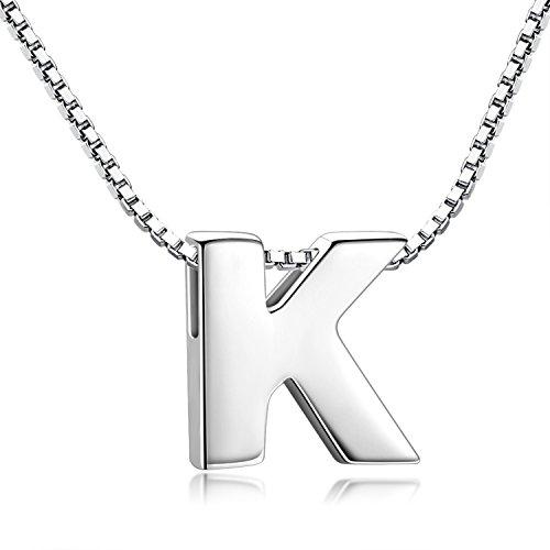 Candyfancy Buchstaben Kette - Buchstabenkette Kette mit Buchstabenanhänger Silber Halskette Kettenanhänger Initialen Silberkette Damen 925 (Kette mit Buchstabe K)