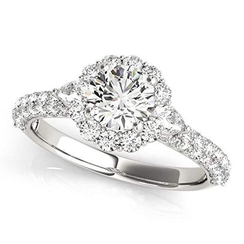 Anillo de compromiso de oro blanco de 14 quilates con halo de diamantes redondos (2 quilates)