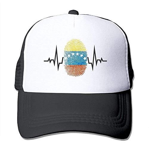HENBEERS Cool Venezuela Heartbeat Fingerprint Mens Digital Printed Mesh Baseball Caps Unisex Snapback Hats