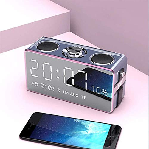 XY-M Auto tragbarer Wecker, Bluetooth-Lautsprecher Übergewicht Subwoofer FM-Radio, Smart Wireless Digital Electronic Snooze LED Stereo-Uhren,Gold,Pink