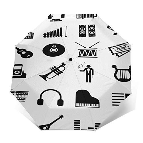 Regenschirm Taschenschirm Kompakter Falt-Regenschirm, Winddichter, Auf-Zu-Automatik, Verstärktes Dach, Ergonomischer Griff, Schirm-Tasche, Symbol Klaviermusik Piktogramm