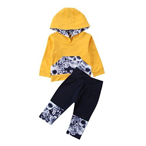 Kimsummerja 2Pcs Baby Boys Girls Outfits, Skull Hooded Pocket Long Sleeve Tops + Patchwork Long Pants Set (Yellow, 100)