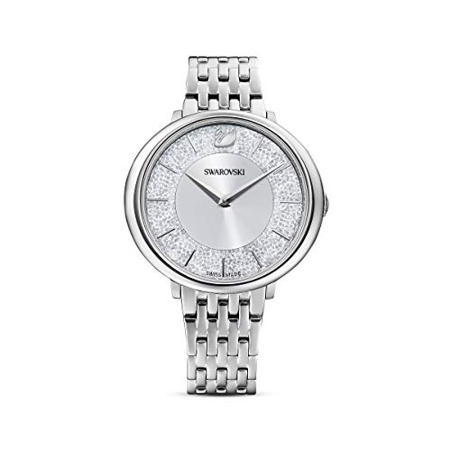 Swarovski Women's Crystalline Chic Analogue Watch, White Swarovski Crystal Wristwatch with Stainless Steel and Silver-Toned Metal Strap