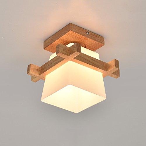 Zzatt inganglamp E27 Moderne plafondlamp vierkant hout glas lampenkap plafondlamp gang balkon Ø12cm