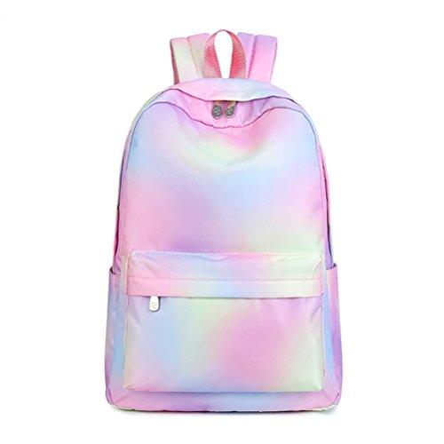Fieans Rucksack Mädchen Farbverlauf Schulrucksack Freizeitrucksack Polyester Gradient Daypack Damen College Schultasche mit Laptopfach - Rosa