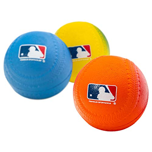 Franklin Sports Foam Baseballs - Soft Foam Practice Baseballs for Kids - Perfect for Hitting and Indoor or Outdoor Play - 3 Pack - Official MLB Licensed Product