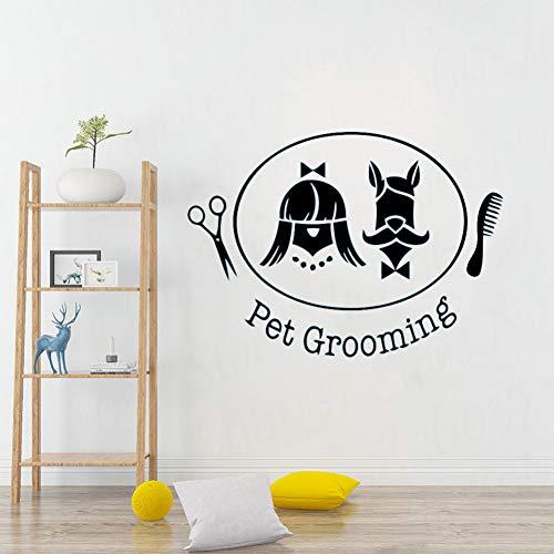TAOYUE Adesivo per animali domestici Adesivo Negozio di animali Decorazioni per pareti interne Animali domestici Logo Adesivo da parete in vinile Adesivo murale cane e gatto rimovibile