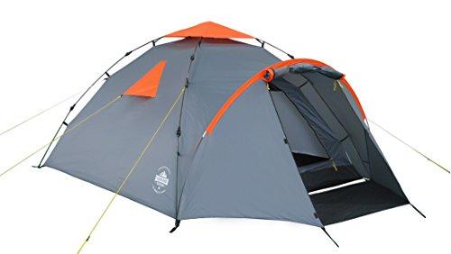 Lumaland Outdoor Pop Up Familienzelt Wurfzelt 3 Personen Zelt Camping Festival etc. 220 x 220 x 130 robust Grau