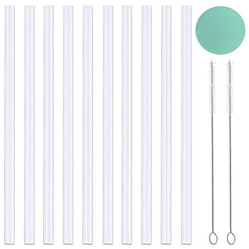 [10-Pack]Greant Replacement Straws Set Compatible with Hydro Bottle Wide Mouth Flask Straw Lid with 2 Straw Brush, BPA Free, 10-PACK