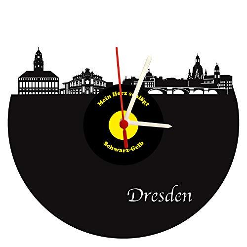 Wanduhr Dresden Skyline, schwarz-gelb hochwertige Acrylglas Uhr mit lautlosem Quarzwerk, 3mm Stärke