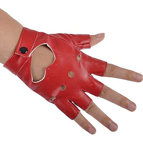 guanti di pelle senza dita Tenflyer donna PU Pelle della Bici del motociclo auto guanti senza dita