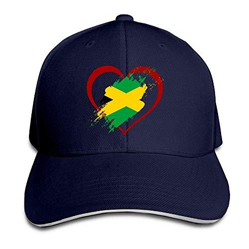 Ahdyr Sombrero Unisex Gorra de béisbol en Forma de corazón con Bandera de Jamaica Unisex Gorra de sándwich con Pico Ajustable