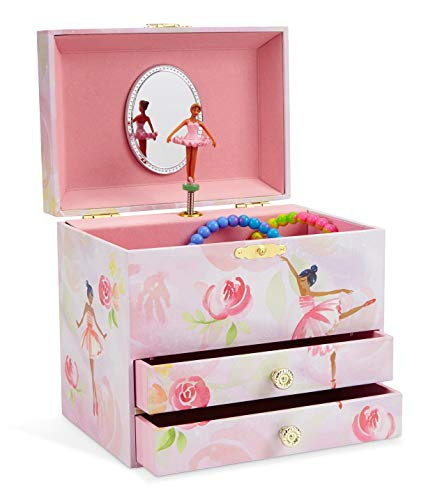 Jewelkeeper Ballerina and Roses Girl's Musical Jewelry Box, 2 Pullout Drawers, Swan Lake Tune Black Designer Jewelry Box