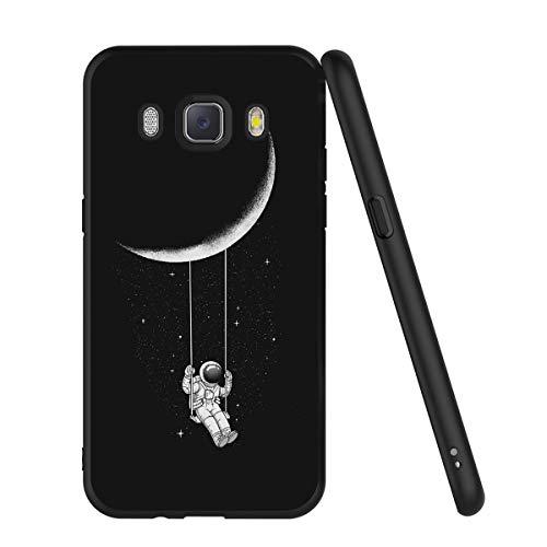 Yoedge Cover Samsung Galaxy J5 2016, Sottile Antiurto Custodia Nero Silicone TPU con Disegni Pattern Ultra Slim 360 Protective Bumper Case per Apple Samsung Galaxy J5 2016, Astronauta