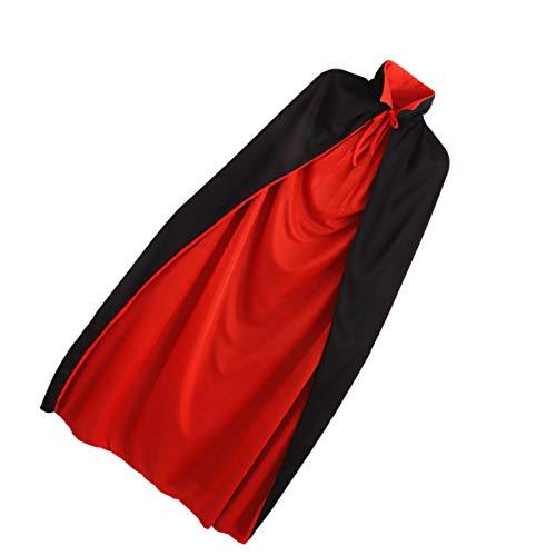 BESPORTBLE Disfraz de Halloween de vampiro, capa de bruja para adultos, hombres y mujeres, disfraz de Halloween (rojo y negro)