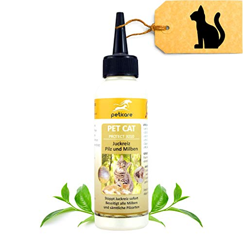 Peticare Spezial-Pflege für Katzen bei Juckreiz, Milben, Flöhe - Effektive Lotion gegen Jucken, Pilz-Befall, Floh-Befall, natürliche Inhaltstoffe - petCat Protect 3010