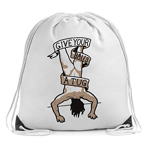 Give Your Balls A Tug Bolsa de Cuerdas Drawstring Bag Gym Backpack