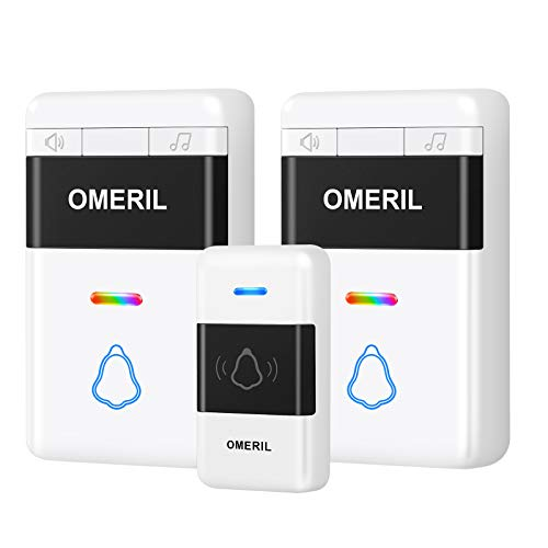 Wireless Doorbell, OMERIL Waterproof Door Bell, Doorbell Chime Kit with 5 Level Volume and Multi-Colors LED Flash, Operating at 1000ft Range with 58 Tunes to Choose and 1 Push Button & 2 Receivers