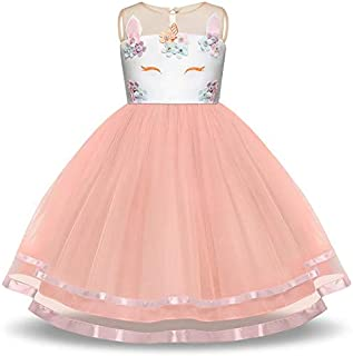 Pastel Unicorn Tutu Dress for Girls, Kids Birthday Party Unicorn Costume Outfit Pompous Skirts Dance Costumes Dresses