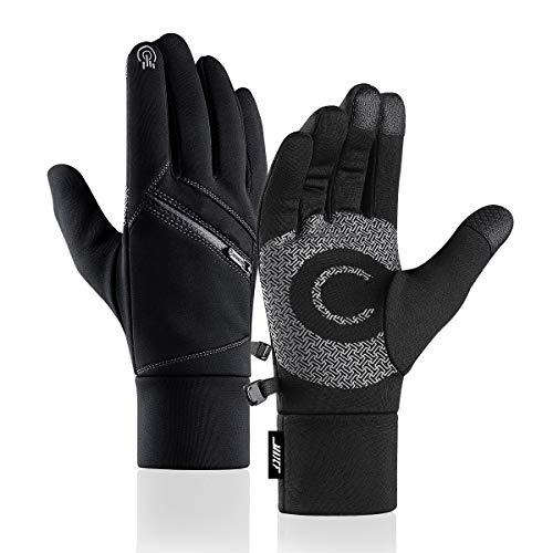 MAJCF Winter Gloves, Double-Layer Thickened Touchscreen Warm Gloves Men & Women (Black, L)